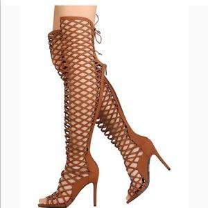 NWOT Breckelle's selena tan thigh high cut heels
